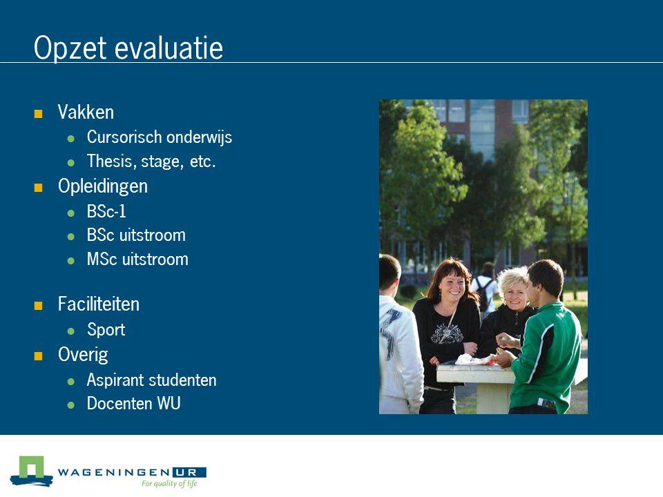 Opzet evaluatie Vakken Cursorisch onderwijs Thesis, stage, etc. Opleidingen BSc-1 BSc uitstroom MSc uitstroom Faciliteiten Sport Overig Aspirant stude