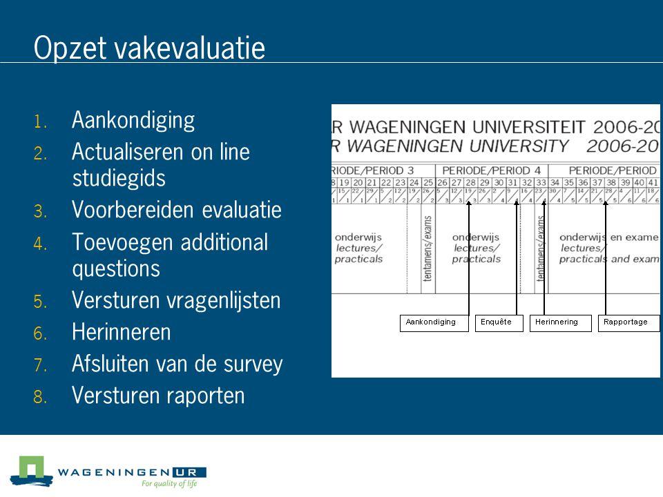 Opzet vakevaluatie  Aankondiging  Actualiseren on line studiegids  Voorbereiden evaluatie  Toevoegen additional questions  Versturen vragenl