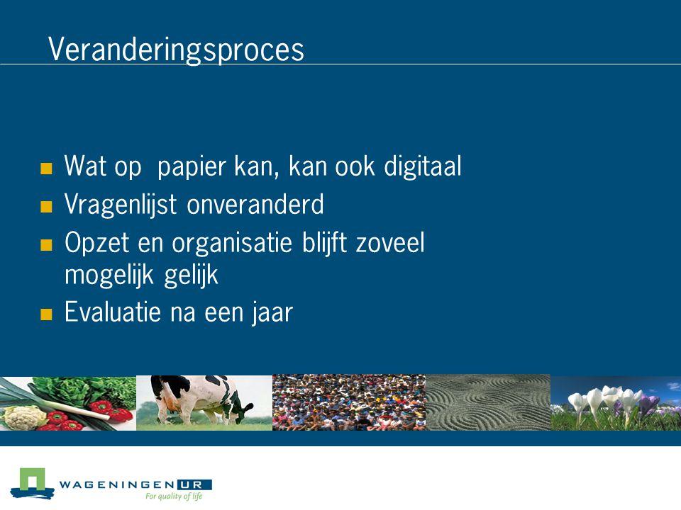 Veranderingsproces Wat op papier kan, kan ook digitaal Vragenlijst onveranderd Opzet en organisatie blijft zoveel mogelijk gelijk Evaluatie na een jaar
