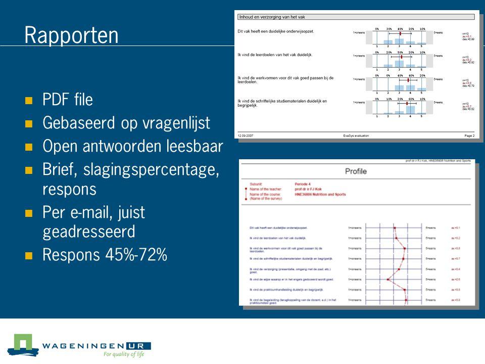 Rapporten PDF file Gebaseerd op vragenlijst Open antwoorden leesbaar Brief, slagingspercentage, respons Per e-mail, juist geadresseerd Respons 45%-72%