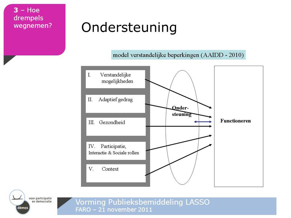Vorming Publieksbemiddeling LASSO FARO – 21 november 2011 3 – Hoe drempels wegnemen? Ondersteuning