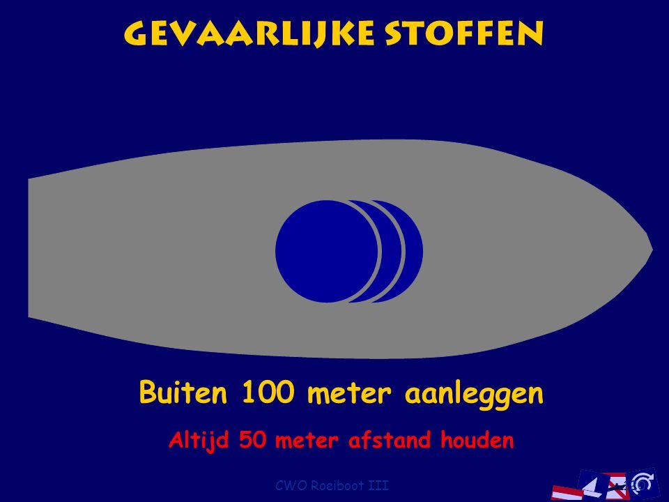 CWO Roeiboot III120 Gevaarlijke stoffen Buiten 10 meter aanleggenBuiten 50 meter aanleggenBuiten 100 meter aanleggen Altijd 50 meter afstand houden