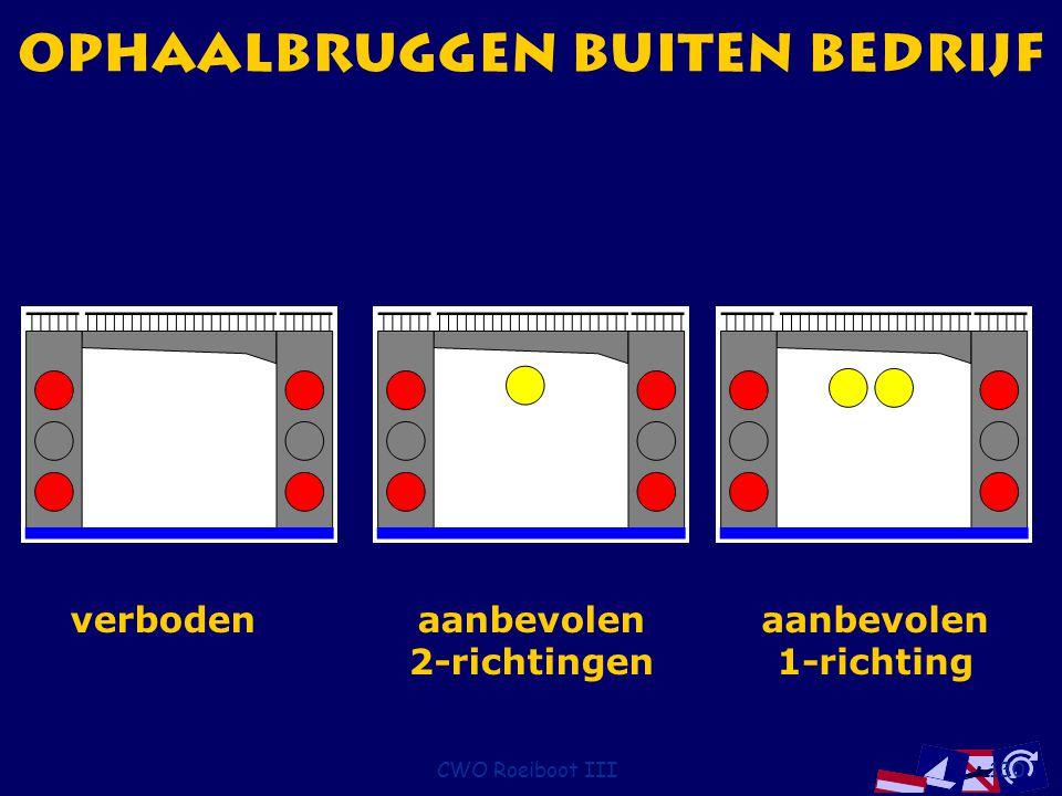 CWO Roeiboot III130 ophaalbruggen buiten bedrijf verbodenaanbevolen 2-richtingen aanbevolen 1-richting