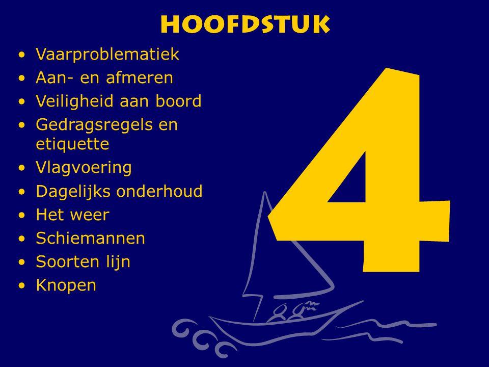 CWO Roeiboot III133 Hoofdstuk 4 Vaarproblematiek Aan- en afmeren Veiligheid aan boord Gedragsregels en etiquette Vlagvoering Dagelijks onderhoud Het w