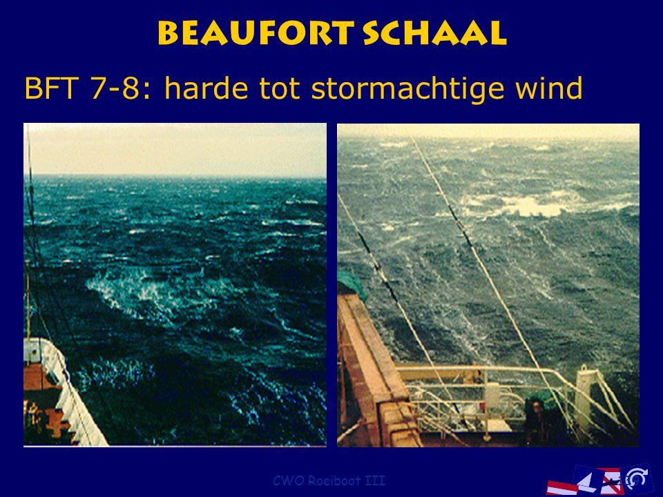 CWO Roeiboot III139 Beaufort Schaal BFT 7-8: harde tot stormachtige wind