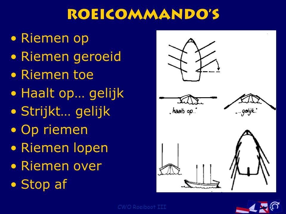 CWO Roeiboot III50 Roeicommando's Riemen op Riemen geroeid Riemen toe Haalt op… gelijk Strijkt… gelijk Op riemen Riemen lopen Riemen over Stop af
