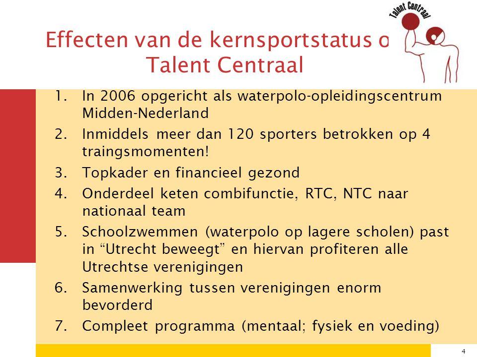 4 1.In 2006 opgericht als waterpolo-opleidingscentrum Midden-Nederland 2.Inmiddels meer dan 120 sporters betrokken op 4 traingsmomenten.
