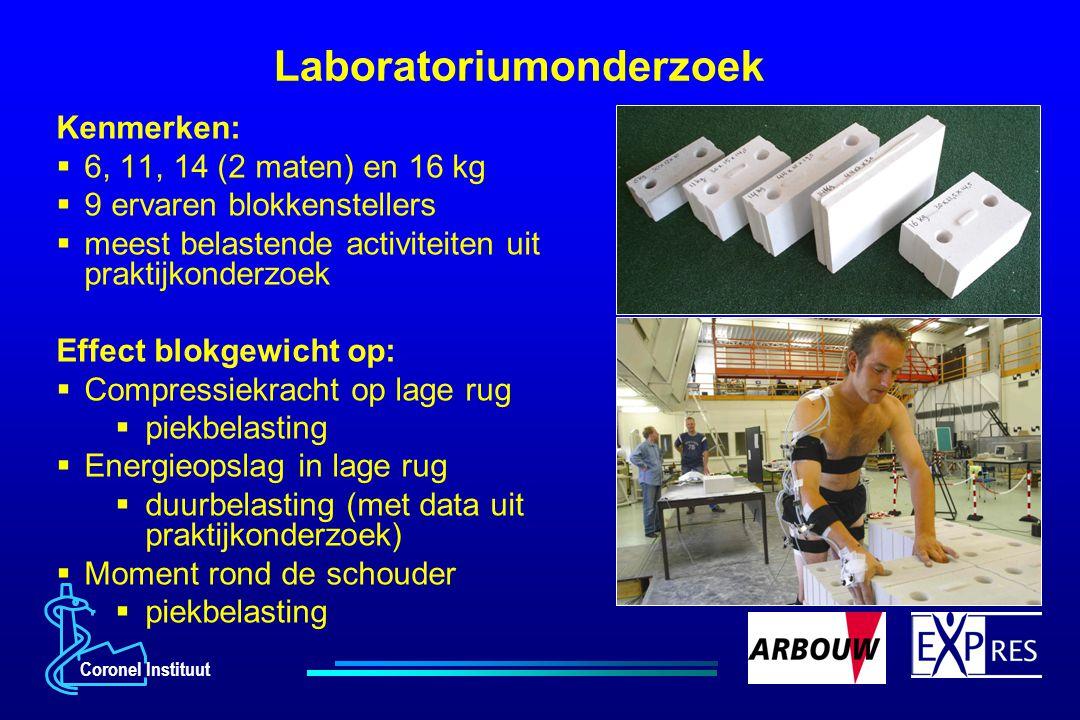 Coronel Instituut Laboratoriumonderzoek Kenmerken:  6, 11, 14 (2 maten) en 16 kg  9 ervaren blokkenstellers  meest belastende activiteiten uit prak