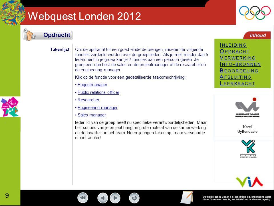 Webquest Londen 2012 I NLEIDING O PDRACHT V ERWERKING I NFO - BRONNEN B EOORDELING A FSLUITING L EERKRACHT De wereld aan je voeten .