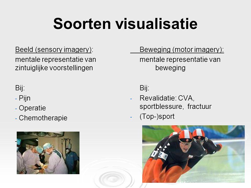 Soorten visualisatie Beeld (sensory imagery): mentale representatie van zintuiglijke voorstellingen Bij: - Pijn - Operatie - Chemotherapie Beweging (m