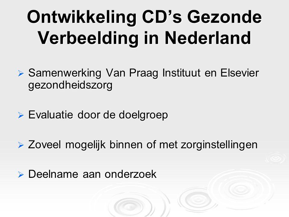 Ontwikkeling CD's Gezonde Verbeelding in Nederland  Samenwerking Van Praag Instituut en Elsevier gezondheidszorg  Evaluatie door de doelgroep  Zove