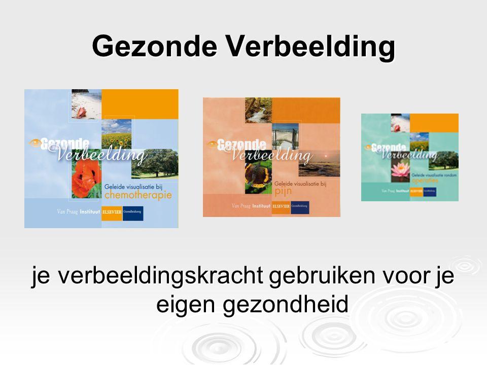 Ontwikkeling CD's Gezonde Verbeelding in Nederland  Samenwerking Van Praag Instituut en Elsevier gezondheidszorg  Evaluatie door de doelgroep  Zoveel mogelijk binnen of met zorginstellingen  Deelname aan onderzoek