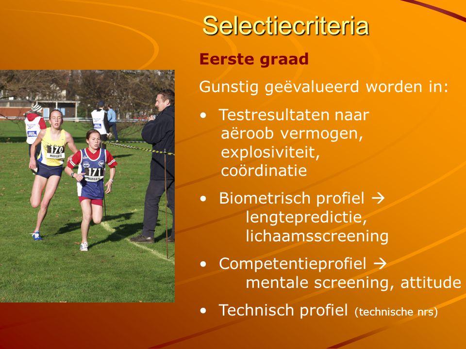 Selectiecriteria Tweede graad : Gunstig geëvalueerd worden in: Testresultaten naar aëroob vermogen, explosiviteit, coördinatie Biometrisch profiel Competentieprofiel Technisch profiel Prestatieprofiel