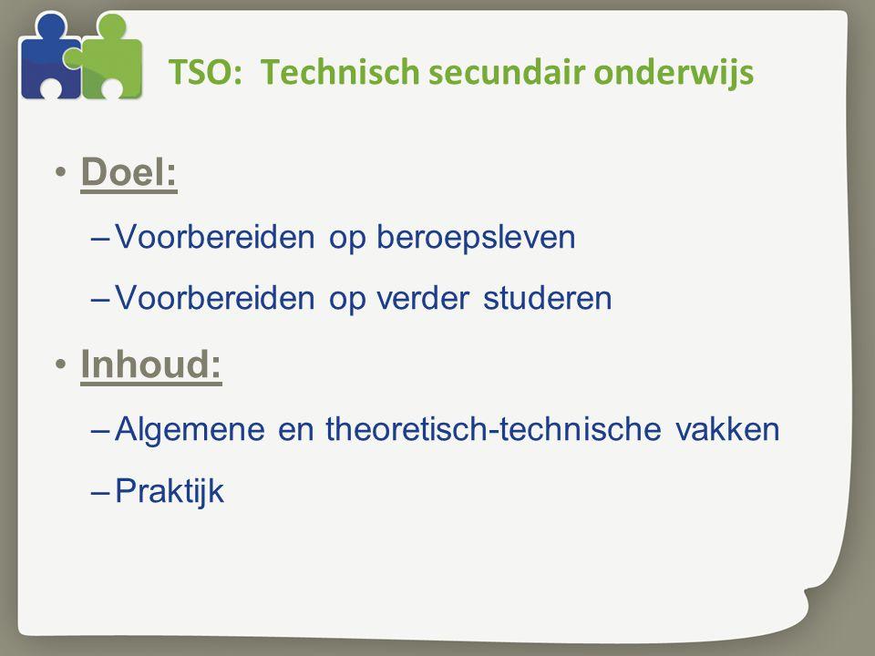 TSO: Technisch secundair onderwijs Doel: –Voorbereiden op beroepsleven –Voorbereiden op verder studeren Inhoud: –Algemene en theoretisch-technische vakken –Praktijk