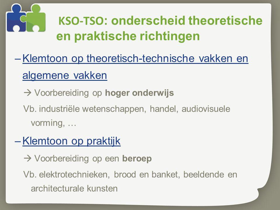 KSO-TSO : onderscheid theoretische en praktische richtingen –Klemtoon op theoretisch-technische vakken en algemene vakken  Voorbereiding op hoger onderwijs Vb.