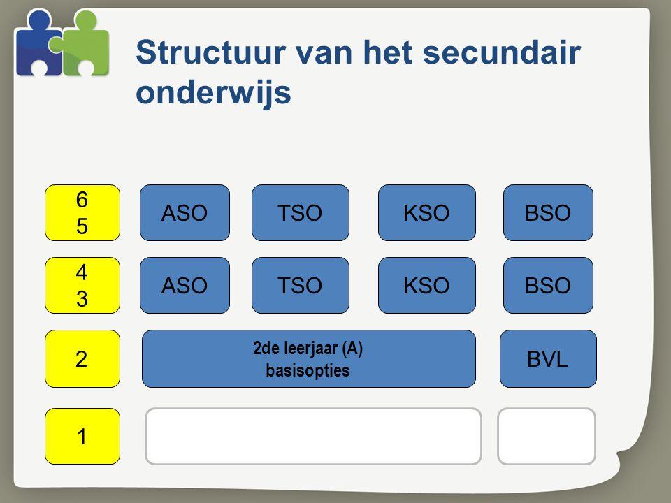 Structuur van het secundair onderwijs ASOTSOKSOBSO 4343 2de leerjaar (A) basisopties 2BVL 1ste leerjaar (A) keuzegedeelte 1 1 B 6565 ASOTSOKSOBSO