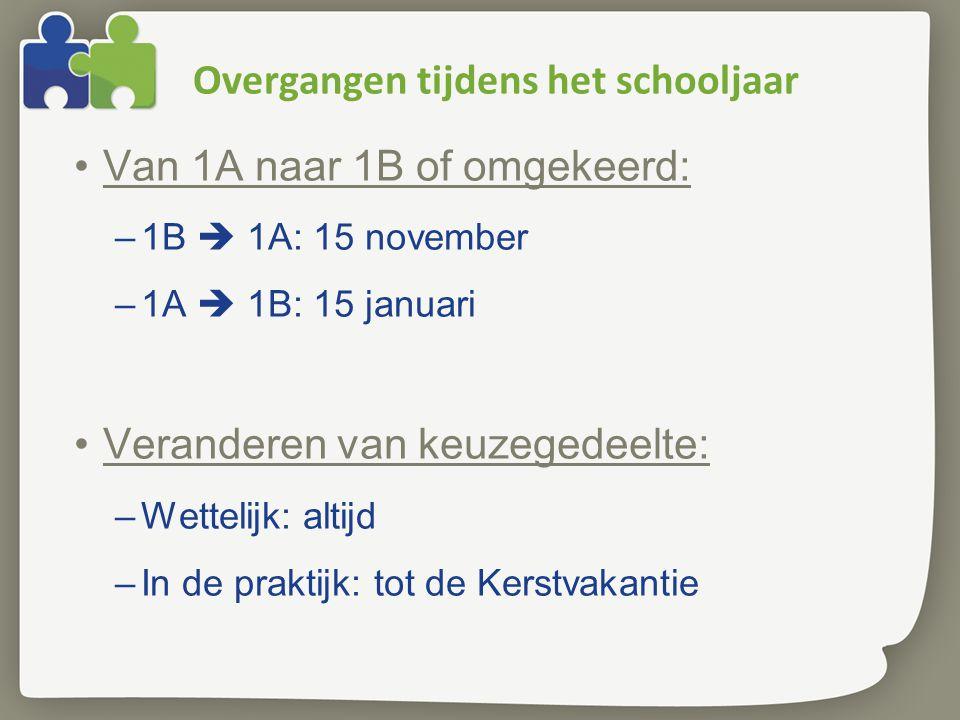 Overgangen tijdens het schooljaar Van 1A naar 1B of omgekeerd: –1B  1A: 15 november –1A  1B: 15 januari Veranderen van keuzegedeelte: –Wettelijk: altijd –In de praktijk: tot de Kerstvakantie