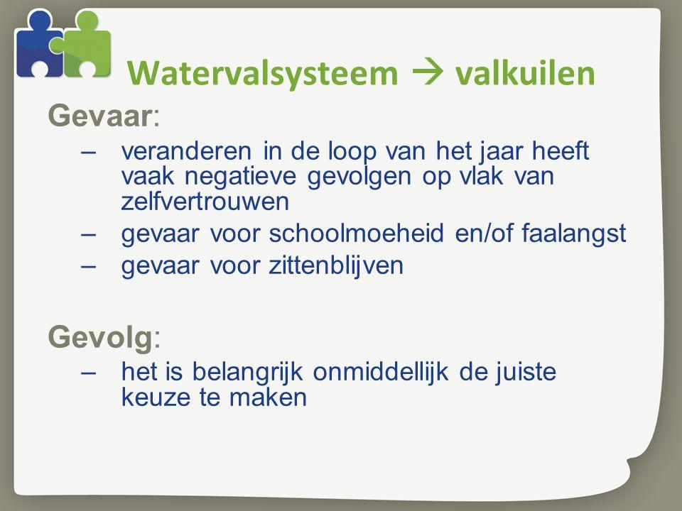 Watervalsysteem  valkuilen Gevaar: –veranderen in de loop van het jaar heeft vaak negatieve gevolgen op vlak van zelfvertrouwen –gevaar voor schoolmoeheid en/of faalangst –gevaar voor zittenblijven Gevolg: –het is belangrijk onmiddellijk de juiste keuze te maken