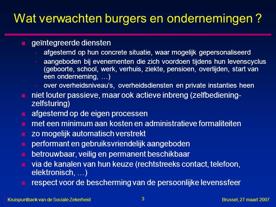 3 Kruispuntbank van de Sociale ZekerheidBrussel, 27 maart 2007 Wat verwachten burgers en ondernemingen .