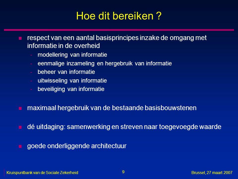 9 Kruispuntbank van de Sociale ZekerheidBrussel, 27 maart 2007 Hoe dit bereiken .