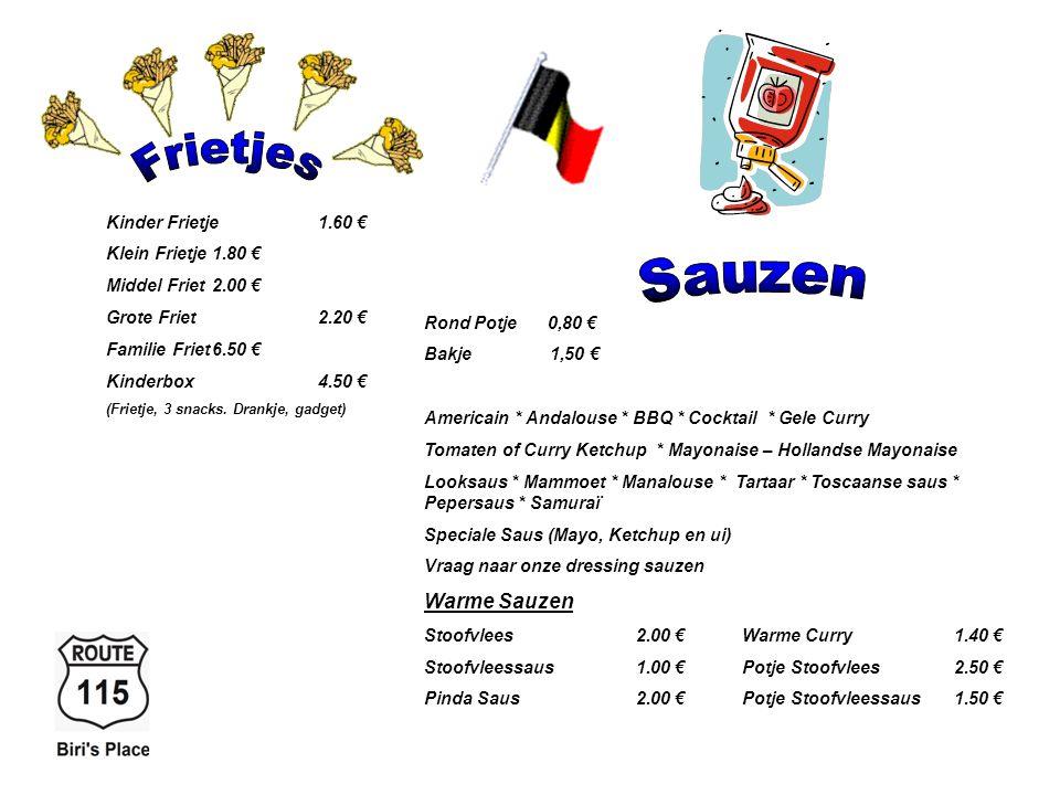 Croque Monsieur3.75 € Croque HawaÏ4.20 € * Suppl. Groenten2.00 € Lasagna Champions6.50 € Macaroni Ham & Kaas6.50 € Videé incl. Brood & groenten6.50 €