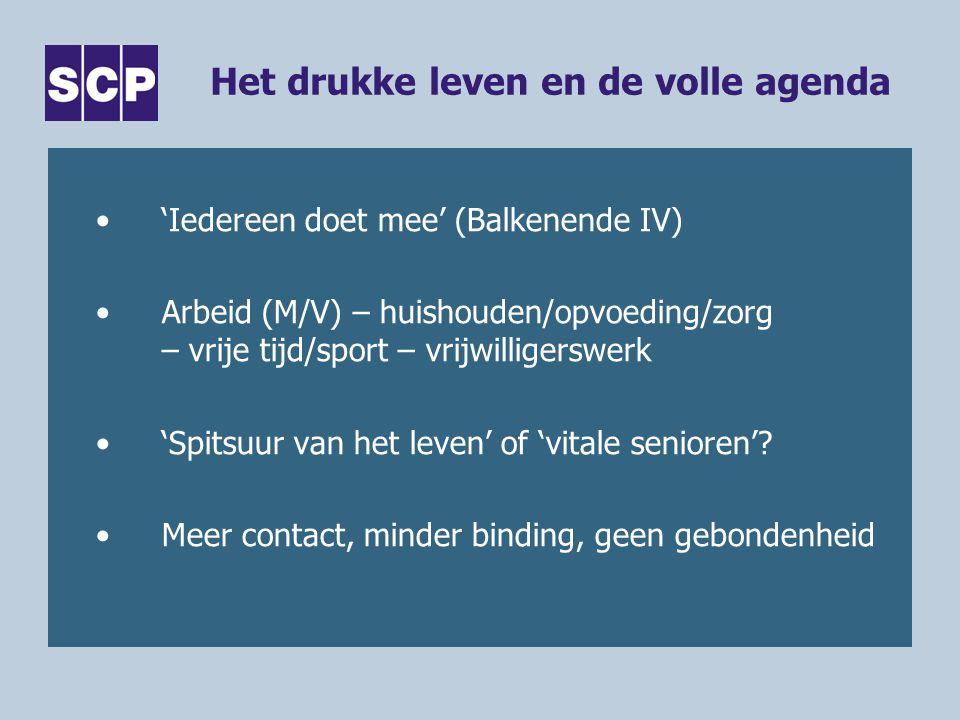 Het drukke leven en de volle agenda 'Iedereen doet mee' (Balkenende IV) Arbeid (M/V) – huishouden/opvoeding/zorg – vrije tijd/sport – vrijwilligerswerk 'Spitsuur van het leven' of 'vitale senioren'.