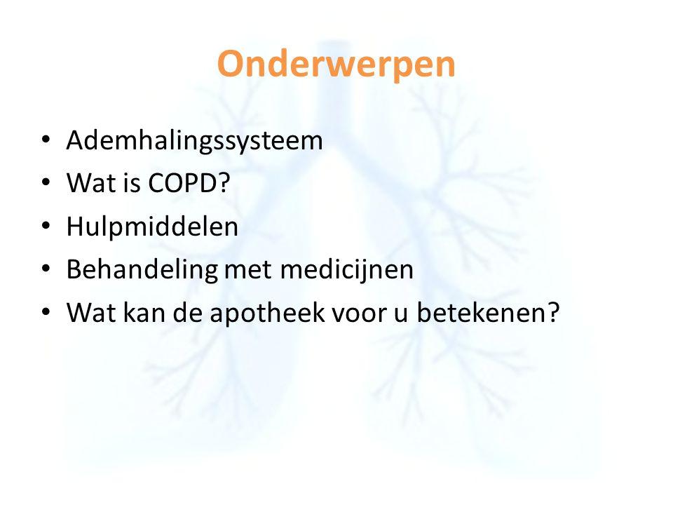 Onderwerpen Ademhalingssysteem Wat is COPD? Hulpmiddelen Behandeling met medicijnen Wat kan de apotheek voor u betekenen?