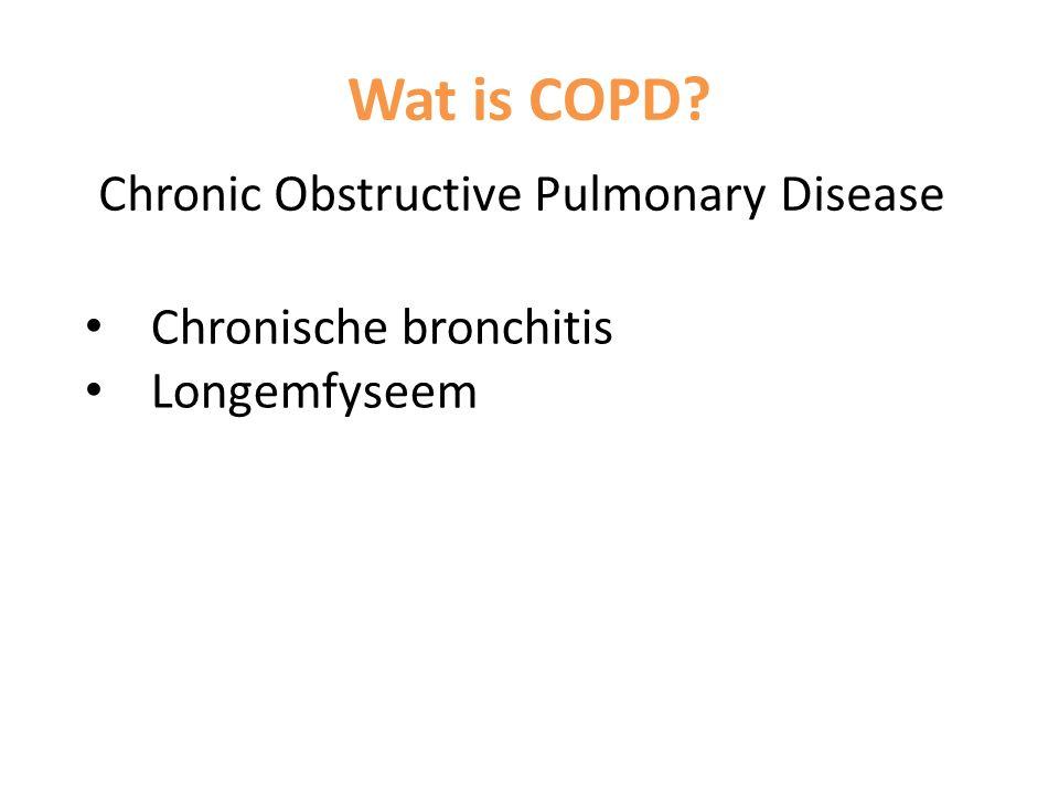 Chronische bronchitis Continu ontsteking bronchiën Slijmvlies zwelling Meer slijm productie Lastiger ademhalen