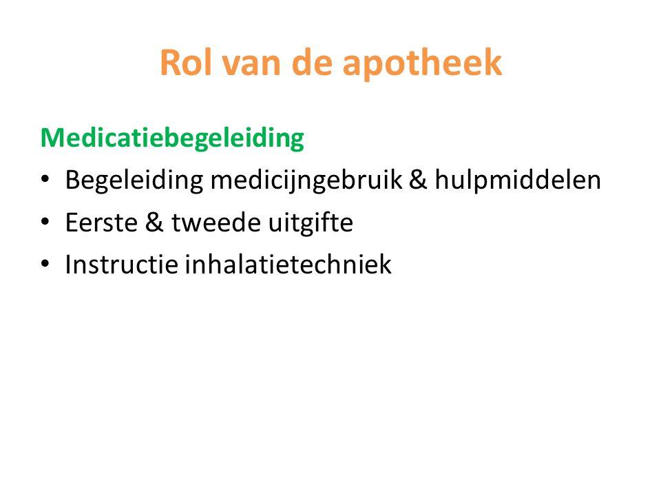 Rol van de apotheek Medicatiebegeleiding Begeleiding medicijngebruik & hulpmiddelen Eerste & tweede uitgifte Instructie inhalatietechniek