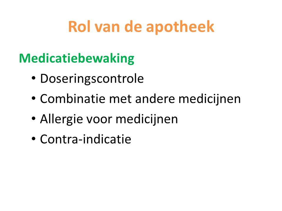 Rol van de apotheek Medicatiebewaking Doseringscontrole Combinatie met andere medicijnen Allergie voor medicijnen Contra-indicatie