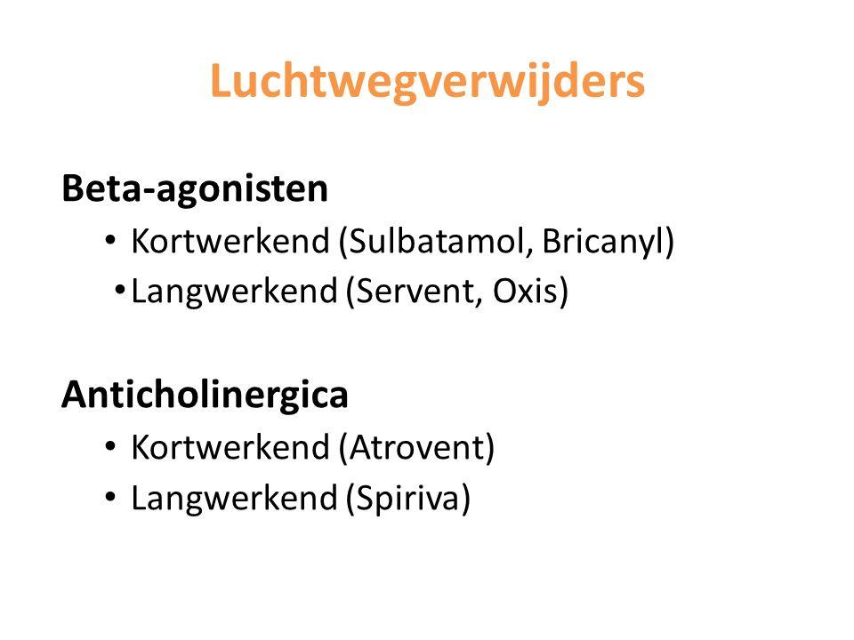 Luchtwegverwijders Beta-agonisten Kortwerkend (Sulbatamol, Bricanyl) Langwerkend (Servent, Oxis) Anticholinergica Kortwerkend (Atrovent) Langwerkend (
