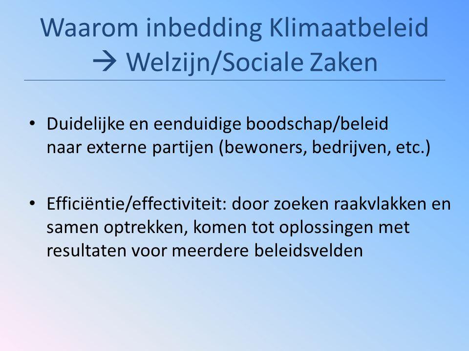 Waarom inbedding Klimaatbeleid  Welzijn/Sociale Zaken Duidelijke en eenduidige boodschap/beleid naar externe partijen (bewoners, bedrijven, etc.) Efficiëntie/effectiviteit: door zoeken raakvlakken en samen optrekken, komen tot oplossingen met resultaten voor meerdere beleidsvelden