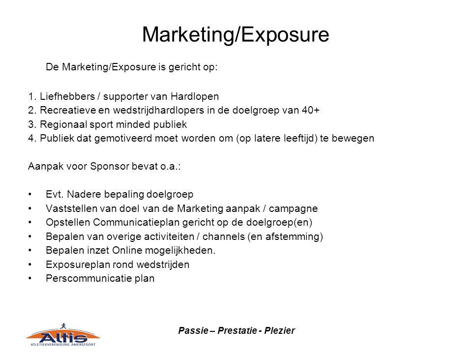 Passie – Prestatie - Plezier Marketing/Exposure De Marketing/Exposure is gericht op: 1. Liefhebbers / supporter van Hardlopen 2. Recreatieve en wedstr