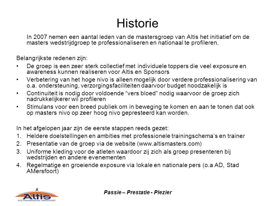 Passie – Prestatie - Plezier Historie In 2007 nemen een aantal leden van de mastersgroep van Altis het initiatief om de masters wedstrijdgroep te professionaliseren en nationaal te profileren.