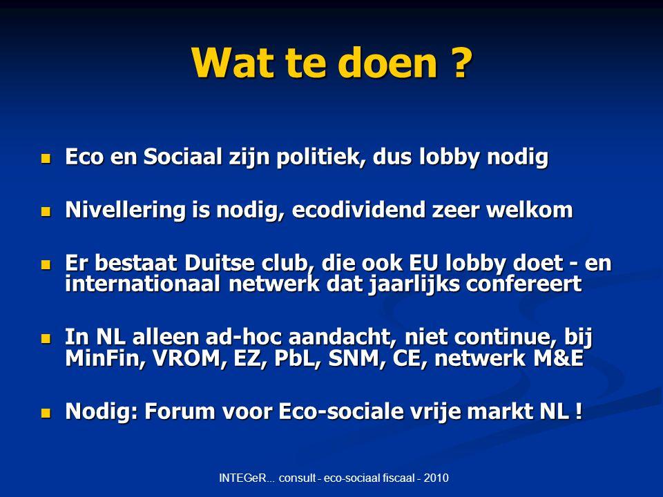 INTEGeR... consult - eco-sociaal fiscaal - 2010 Wat te doen .