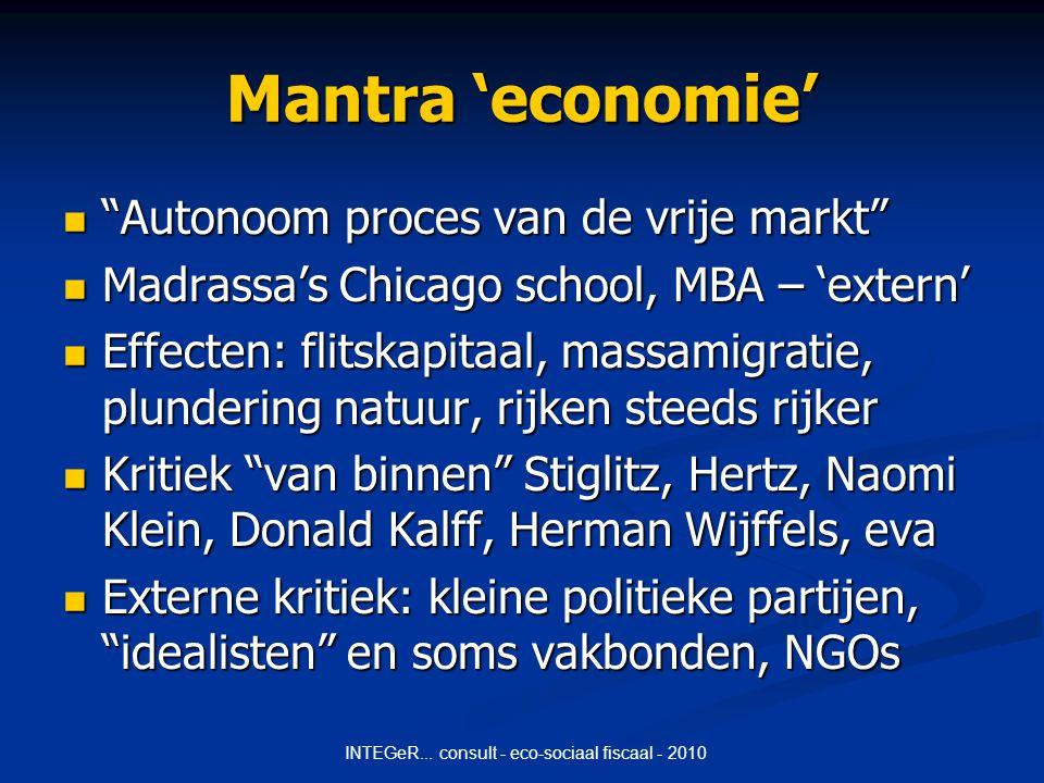 INTEGeR...consult - eco-sociaal fiscaal - 2010 Hoe economie duurzaam .