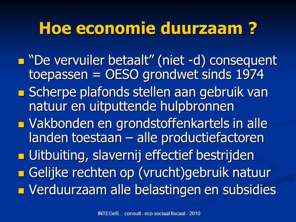INTEGeR... consult - eco-sociaal fiscaal - 2010 Hoe economie duurzaam .