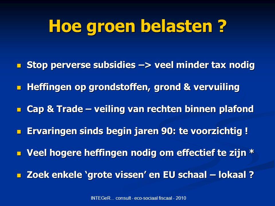 INTEGeR... consult - eco-sociaal fiscaal - 2010 Hoe groen belasten .