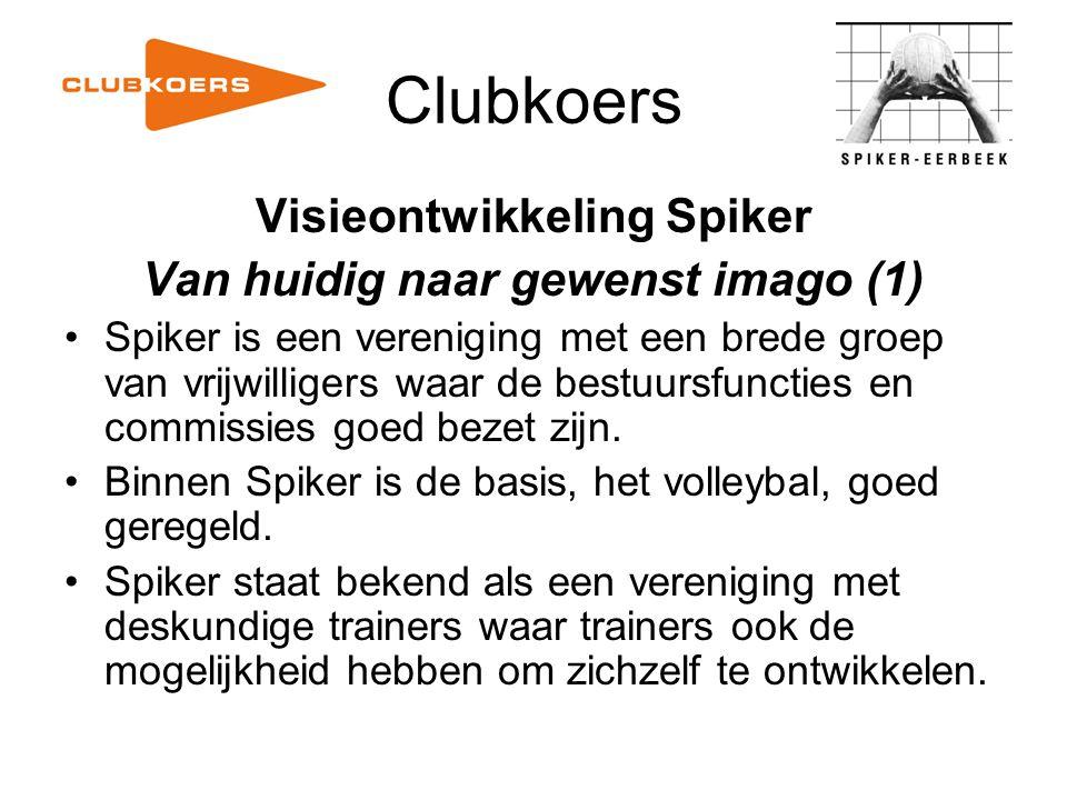 Clubkoers Visieontwikkeling Spiker Van huidig naar gewenst imago (1) Spiker is een vereniging met een brede groep van vrijwilligers waar de bestuursfu