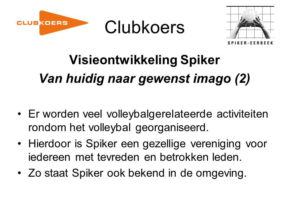 Clubkoers Visieontwikkeling Spiker Van huidig naar gewenst imago (2) Er worden veel volleybalgerelateerde activiteiten rondom het volleybal georganise