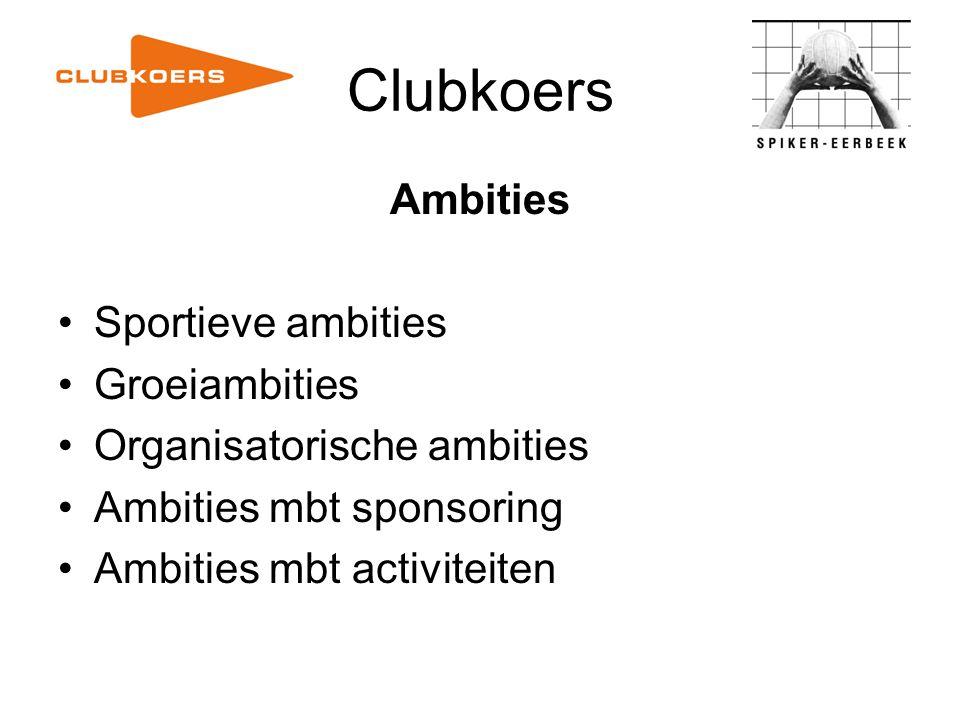 Clubkoers Sportieve ambities (1) Elke speler/speelster krijgt de mogelijkheid tweemaal per week te trainen.