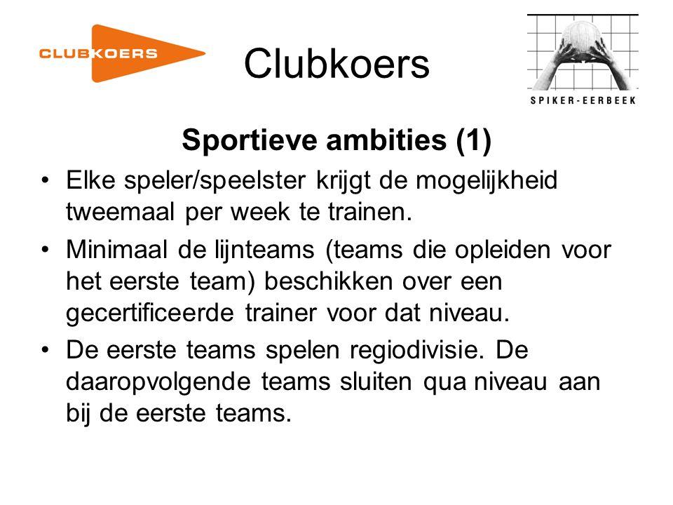 Clubkoers Sportieve ambities (1) Elke speler/speelster krijgt de mogelijkheid tweemaal per week te trainen. Minimaal de lijnteams (teams die opleiden
