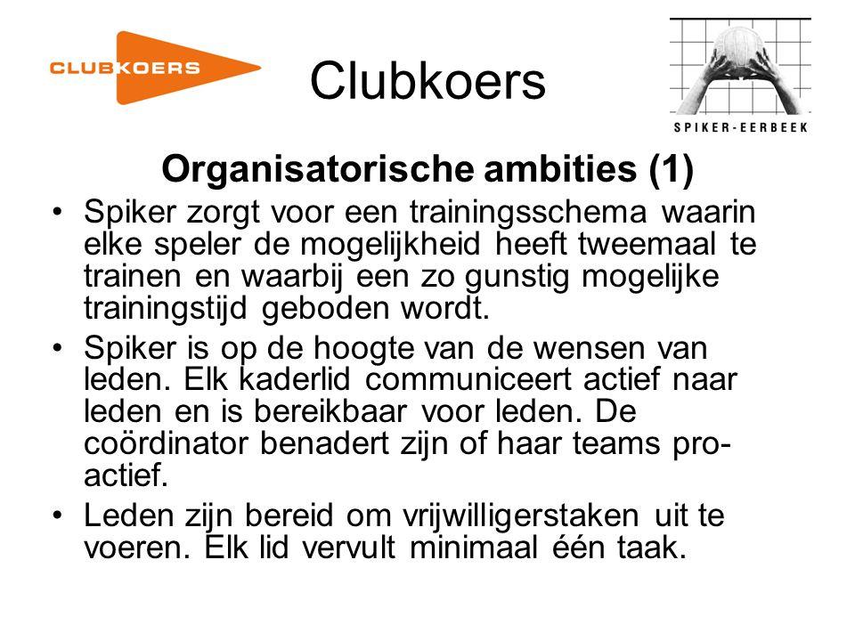 Clubkoers Organisatorische ambities (1) Spiker zorgt voor een trainingsschema waarin elke speler de mogelijkheid heeft tweemaal te trainen en waarbij