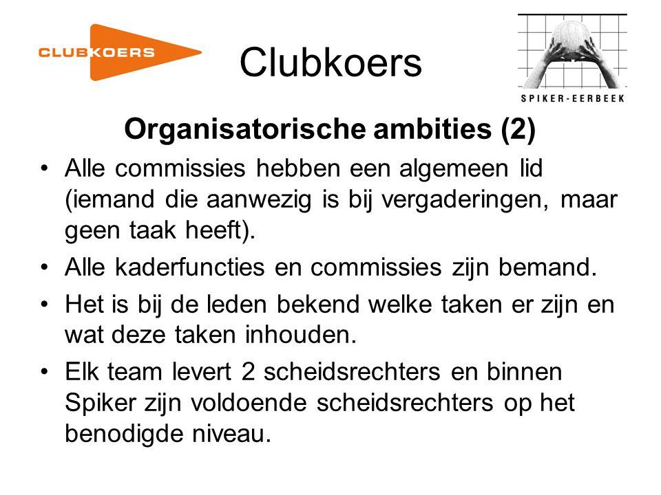 Clubkoers Organisatorische ambities (2) Alle commissies hebben een algemeen lid (iemand die aanwezig is bij vergaderingen, maar geen taak heeft). Alle