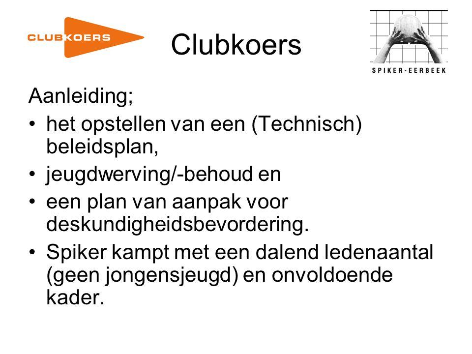 Clubkoers Opdracht Clubkoerscommissie De ambitie van Spiker bepalen en zorgen voor een gezamenlijke toekomstvisie.
