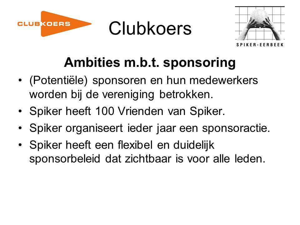 Clubkoers Ambities m.b.t. sponsoring (Potentiële) sponsoren en hun medewerkers worden bij de vereniging betrokken. Spiker heeft 100 Vrienden van Spike