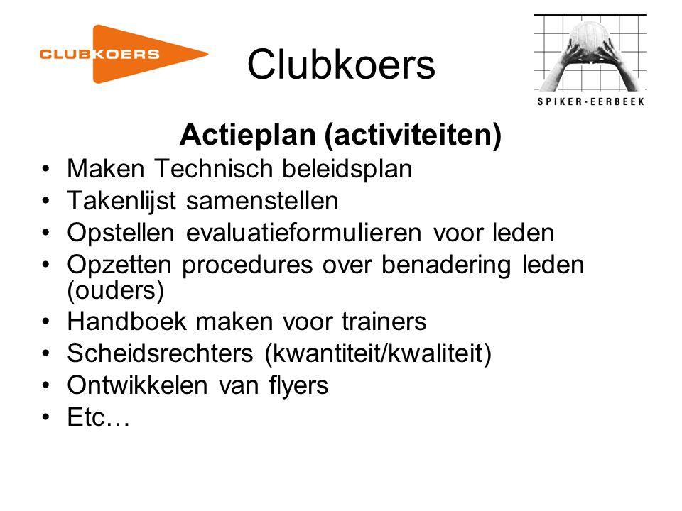 Clubkoers Actieplan (activiteiten) Maken Technisch beleidsplan Takenlijst samenstellen Opstellen evaluatieformulieren voor leden Opzetten procedures o