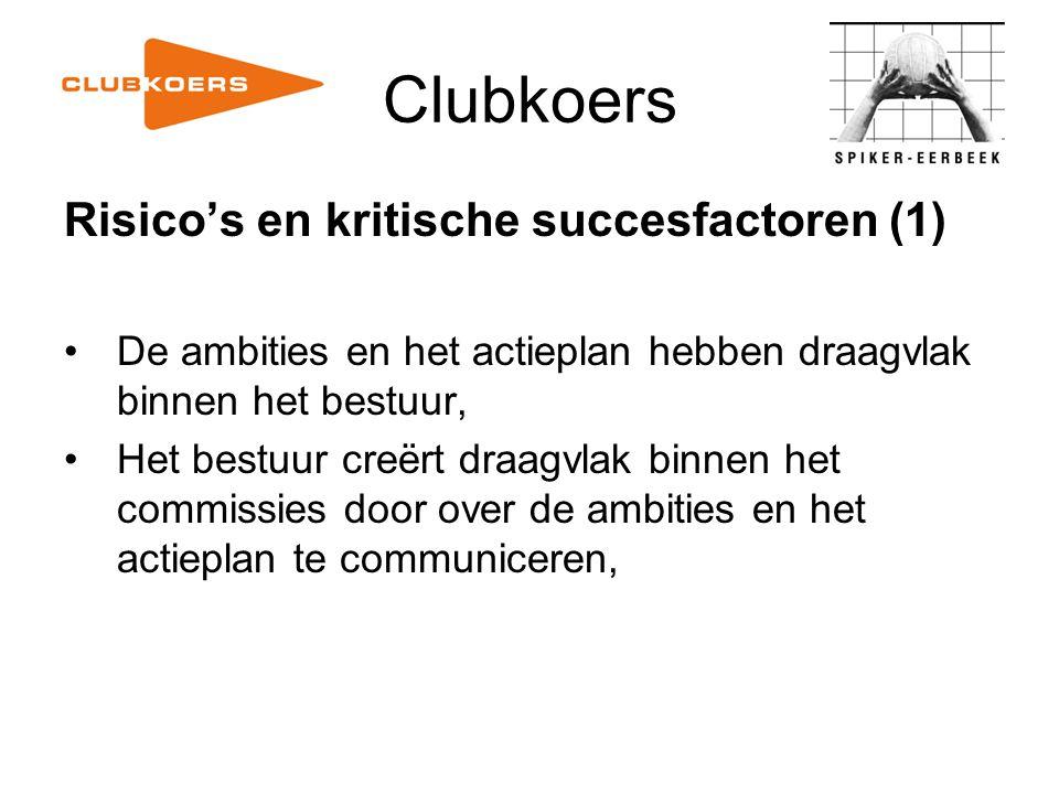 Clubkoers Risico's en kritische succesfactoren (1) De ambities en het actieplan hebben draagvlak binnen het bestuur, Het bestuur creërt draagvlak binn