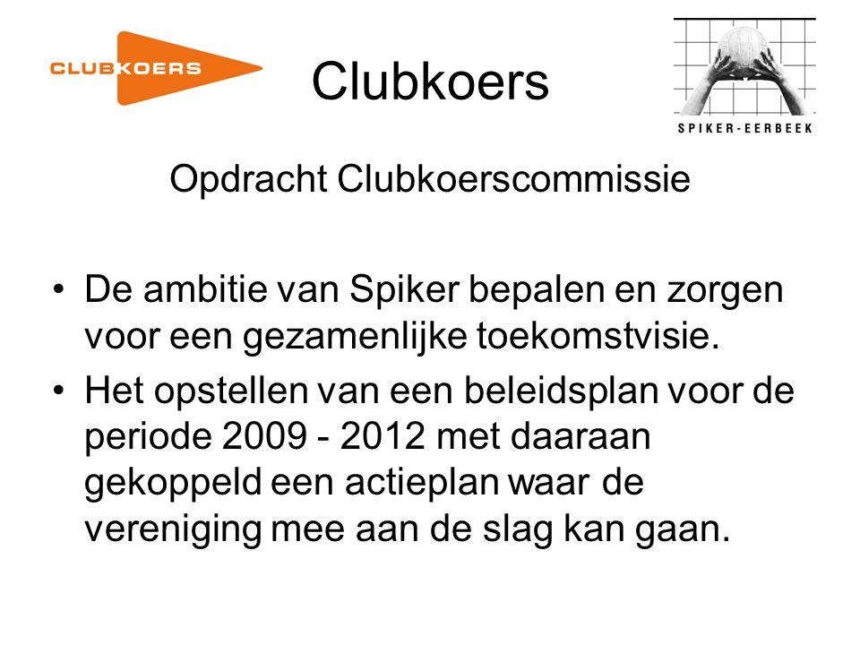 Clubkoers Opdracht Clubkoerscommissie De ambitie van Spiker bepalen en zorgen voor een gezamenlijke toekomstvisie. Het opstellen van een beleidsplan v