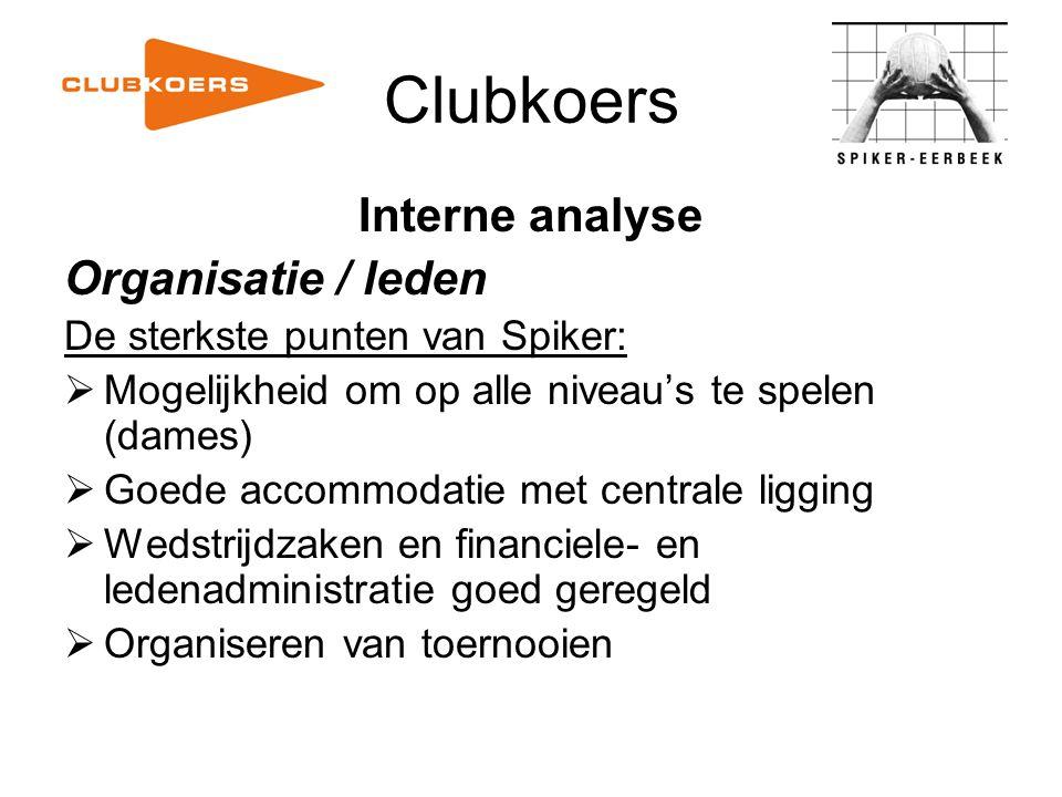 Clubkoers Interne analyse Organisatie / leden De sterkste punten van Spiker:  Mogelijkheid om op alle niveau's te spelen (dames)  Goede accommodatie